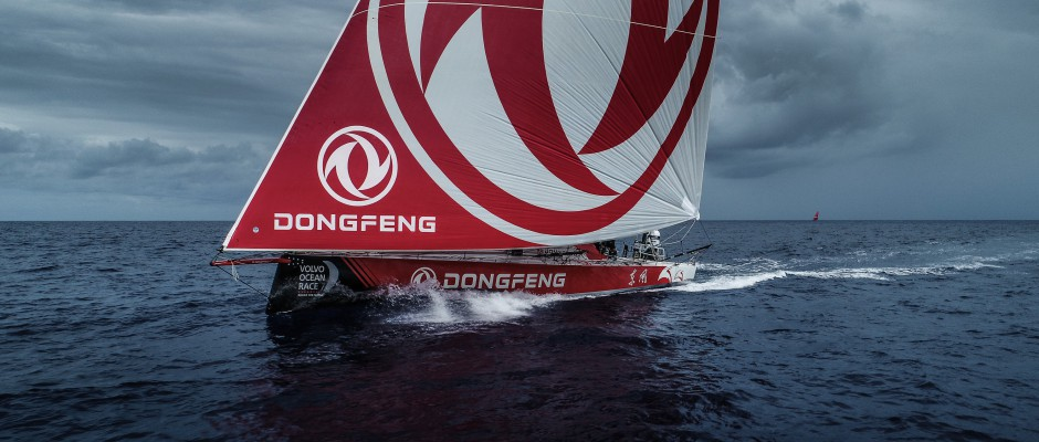 Leg 6 Day 16: Holding the Dongfeng logo high…